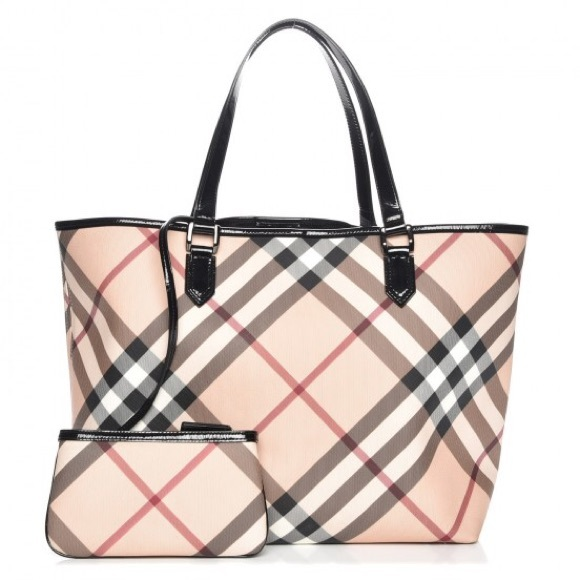 346a3fc4600f Burberry Handbags - BURBERRY SUPERNOVA CHECK LARGE TOTE BAG WITH POUCH